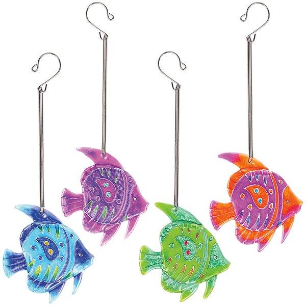 Coalville Glass Fish On Springs 4 Piece Suncatcher Set by Highland Dunes