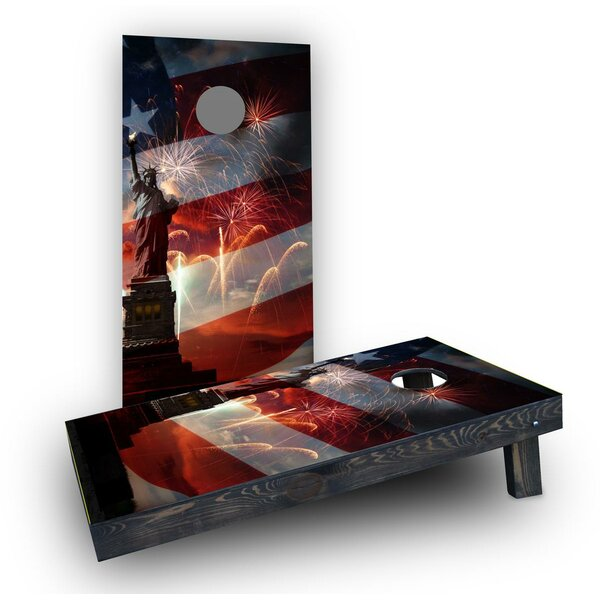 Patriotic Statue of Liberty with Fireworks Cornhole Boards (Set of 2) by Custom Cornhole Boards