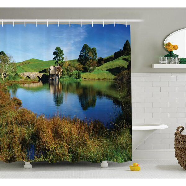 Hobbits Hobbit Land Village House By Lake With Stone Bridge Farmhouse Cottage New Zealand Shower Curtain by Ambesonne