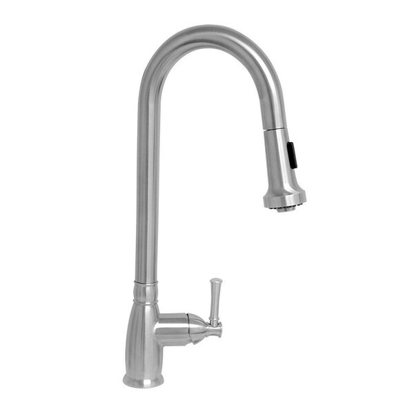 Lead-Free Solid Stainless Steel Pull Down Single Handle Kitchen Faucet with Side Spray