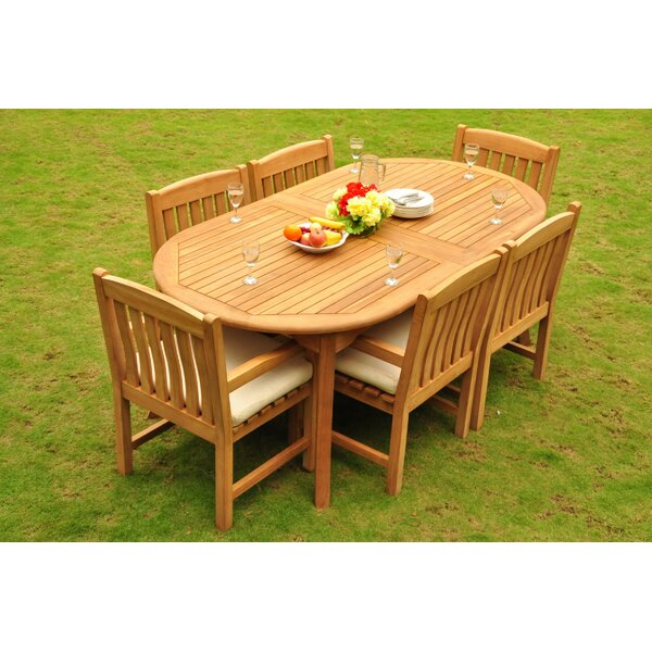 Nido Luxurious 7 Piece Teak Dining Set by Rosecliff Heights