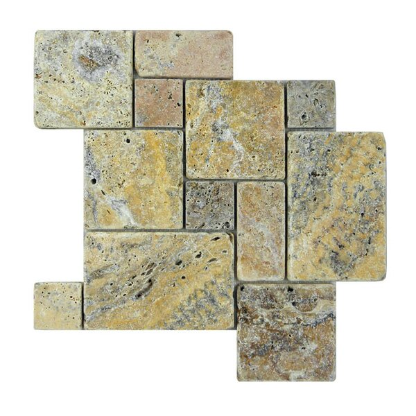 Tumbled Natural Stone Mosaic Tile in Fantastico by QDI Surfaces