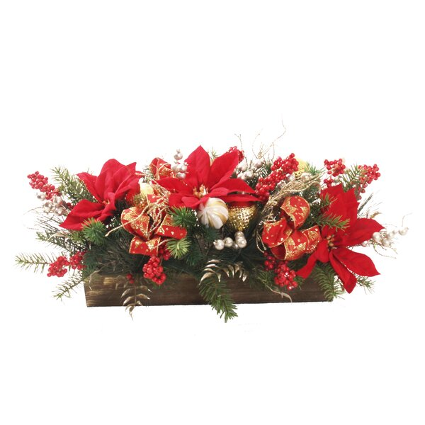 Poinsettia Centerpiece in Planter by The Holiday Aisle