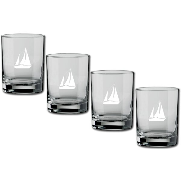 Fidler Sailboat Double Old-Fashioned 14 oz. Crystal Cocktail Glass (Set of 4) by Breakwater Bay