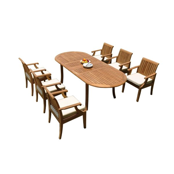 Letman 7 Piece Teak Dining Set by Rosecliff Heights