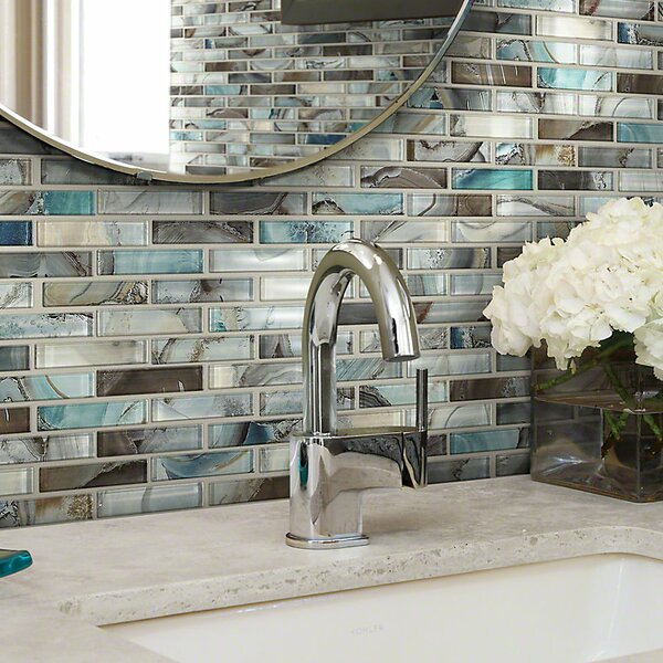Neptune 1 x 4 Glass Mosaic Tile in Glossy Silver/Brown by Shaw Floors