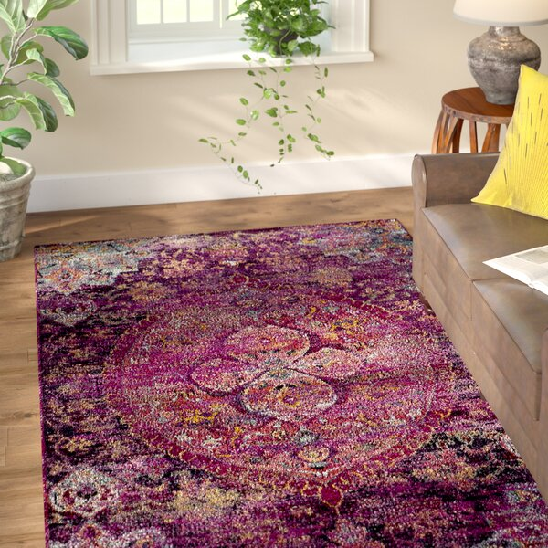 Flori Fuchsia/Purple Area Rug by World Menagerie