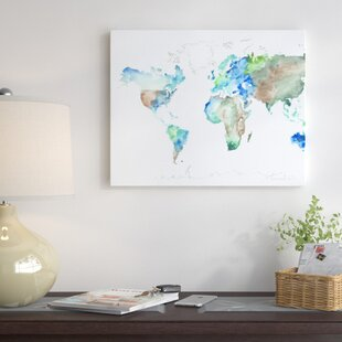 World map push pin wayfair world map painting print on wrapped canvas gumiabroncs Choice Image