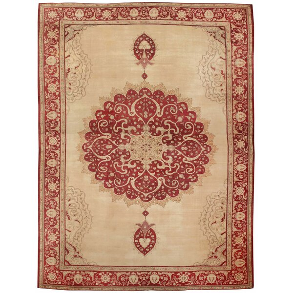One-of-a-Kind Turkish Hand-Knotted 1900s Red 19'1 x 25'10 Wool Area Rug