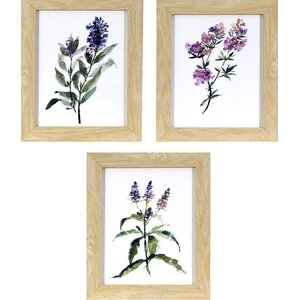 Lavender Wildflowers 3 Piece Framed Print of Painting Set by Lark Manor