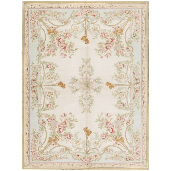 One-of-a-Kind Renaissance Hand-Knotted Beige 9'1 x 12'1 Wool Area Rug