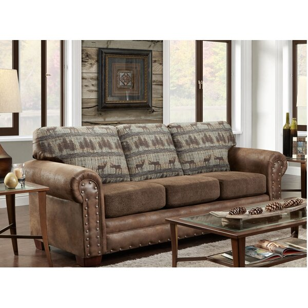The Most Stylish And Classic Buster Teal Deer Lodge Sleeper Sofa by Loon Peak by Loon Peak