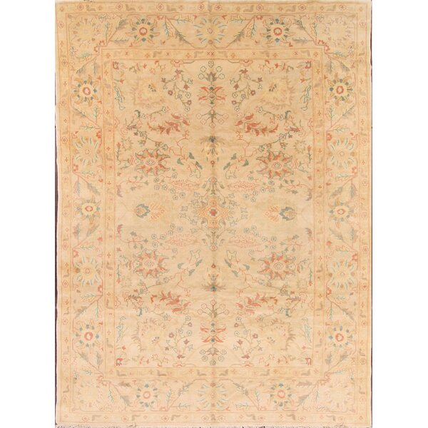 One-of-a-Kind Moncada Oushak Egyption Oriental Hand-Knotted Wool Beige/Ivory Area Rug by August Grove