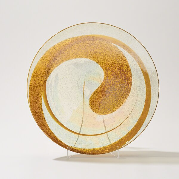 Foxx Swirl Round Canary Glass Charger by Latitude Run
