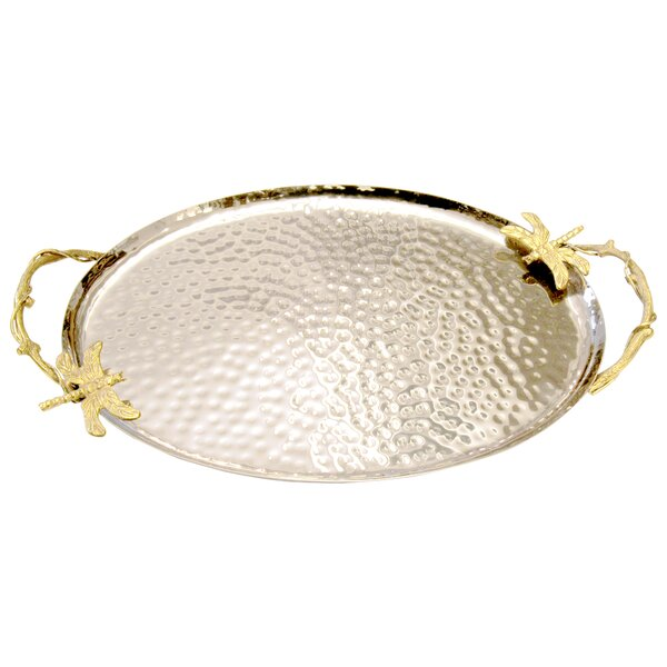 Hammered Stainless Steel Dragonfly Handle Serving Tray by World Menagerie