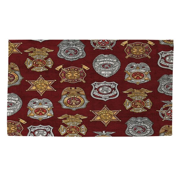 Firefighter Badges Area Rug by Manual Woodworkers & Weavers