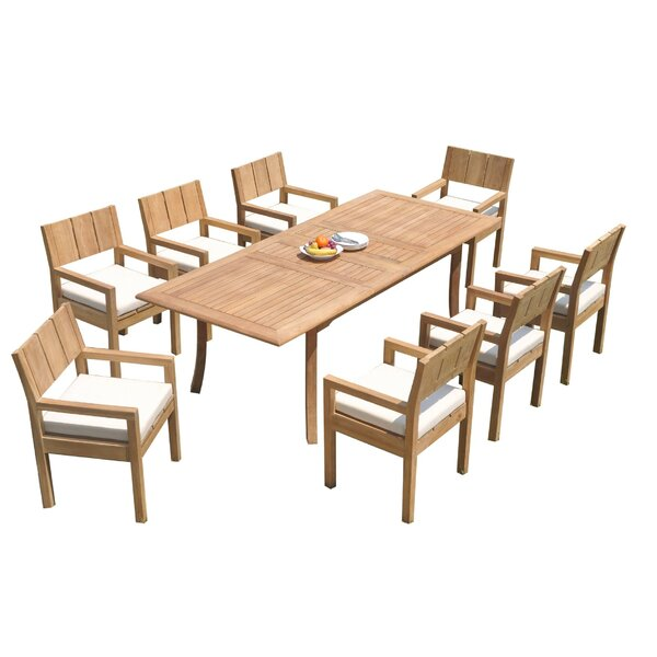 Ingalls 9 Piece Teak Dining Set by Rosecliff Heights