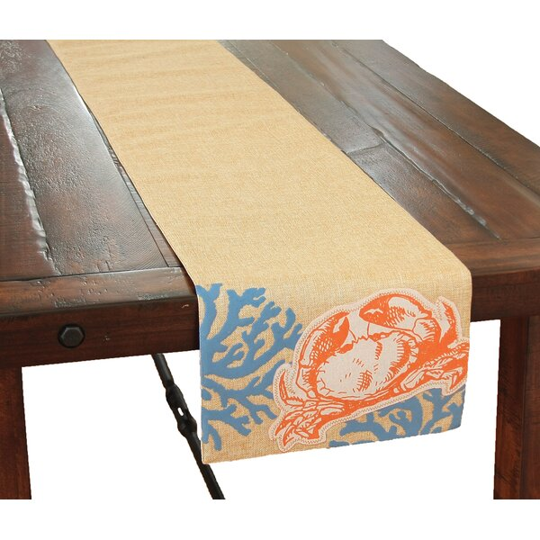 Coastal Applique Crab with Print Coral Table Runner by Xia Home Fashions
