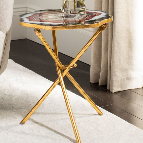 Jarratt Faux Agate End Table by Everly Quinn