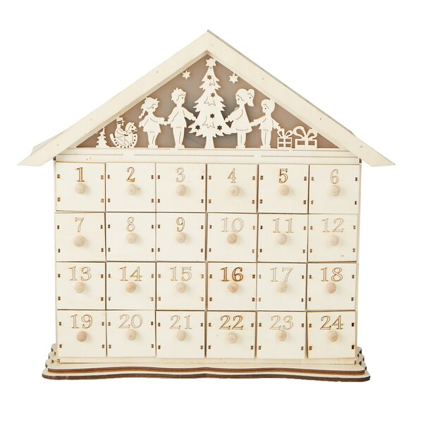 Festive 24 Compartment Wood Advent Calendar by Mind Reader