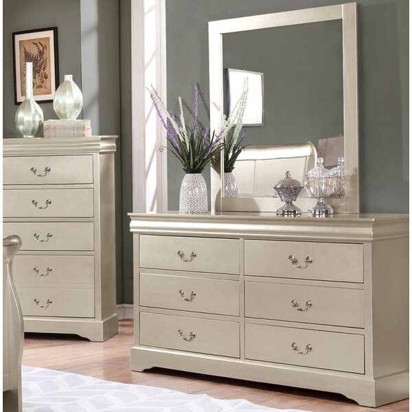 6 Drawer Double Dresser with Mirror by Charlton Home