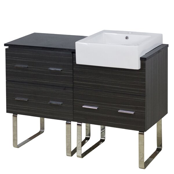 Mulberry Floor Mount 48 Single Bathroom Vanity Set with Ceramic Top by Royal Purple Bath Kitchen