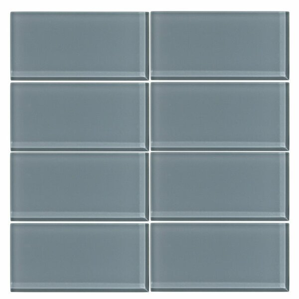 3 x 6 Glass Subway Tile in Cadet Gray by Vicci Design