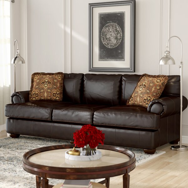 Stewartsville Leather Sofa by Fleur De Lis Living