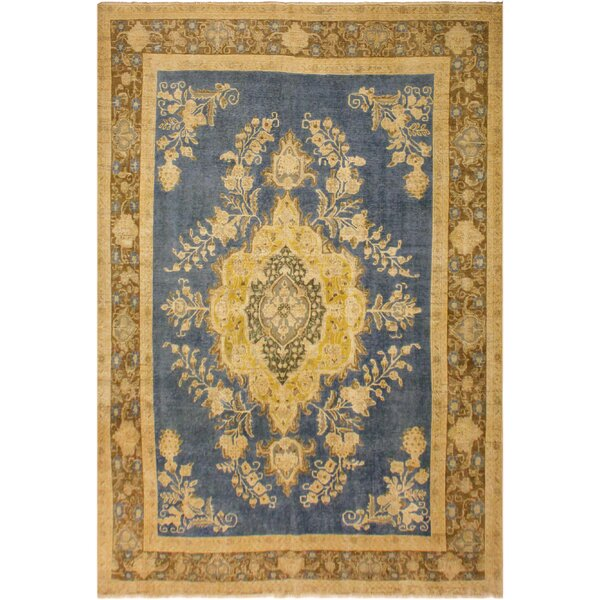 One-of-a-Kind Fendley Vintage Distressed Overdyed Hand-Woven Wool Blue/Brown Area Rug by Isabelline