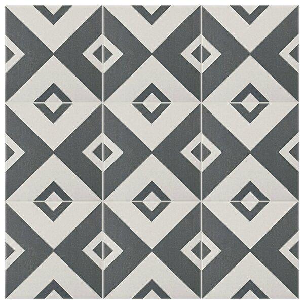 Forties 7.75 x 7.75 Ceramic Field Tile in Vertex White/Gray by EliteTile