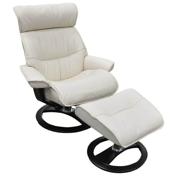 Pismo Beach Ergo Leather Manual Swivel Recliner with Ottoman by Omnia Leather Omnia Leather