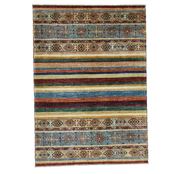One-of-a-Kind Tillotson Super Khorjin Hand-Knotted Beige/Blue Area Rug by Millwood Pines