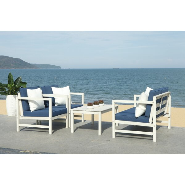 Crocett 4 Piece Sofa Set with Cushions by Beachcrest Home