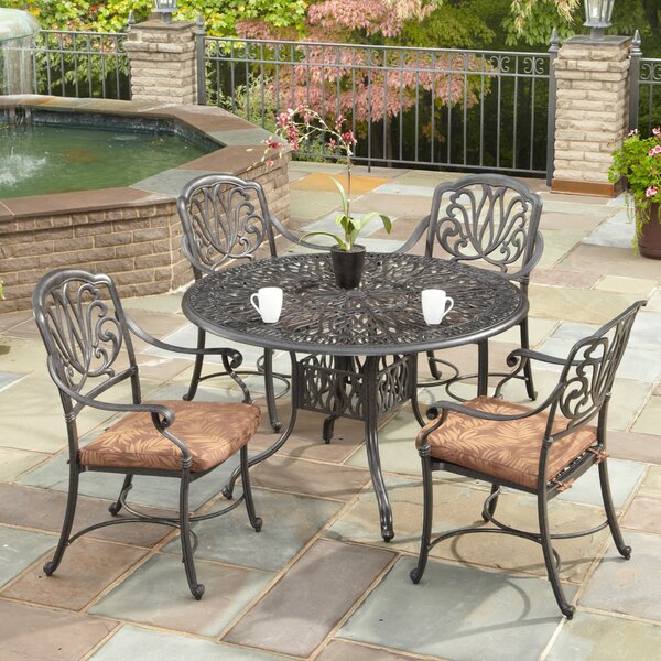 Kuna 5 Piece Dining Set with Cushions by One Allium Way