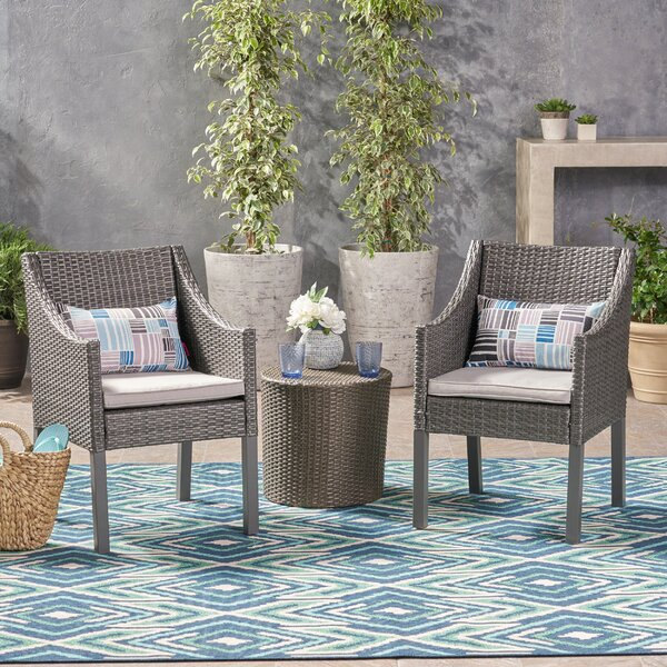 Leber Outdoor 3 Piece Rattan 2 Person Seating Group with Cushions House of Hampton W002379746