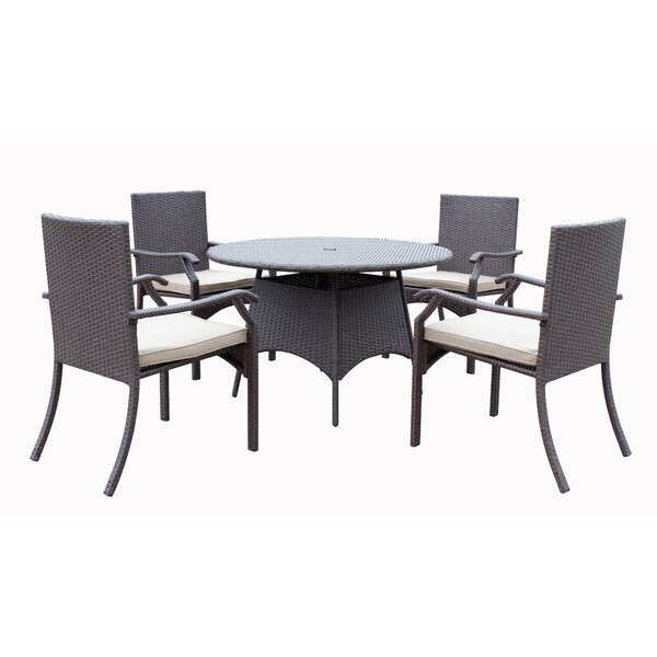 Higuera 5 Piece Dining Set with Cushion by Red Barrel Studio