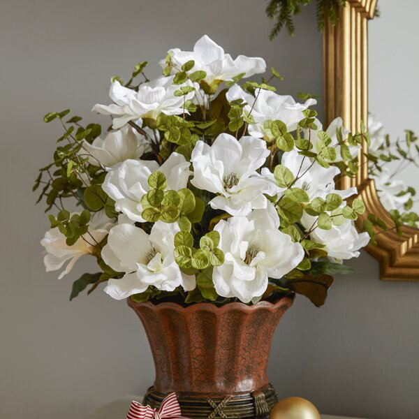 Magnolia Centerpiece in Decorative Vase by House of Silk Flowers Inc.