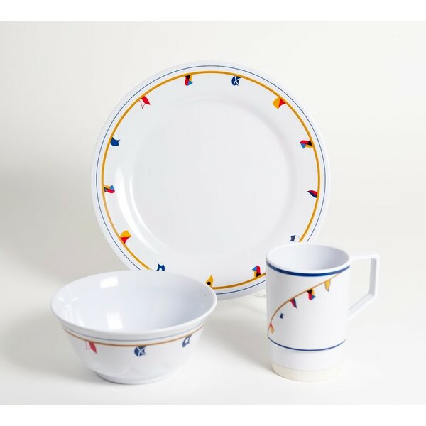 Decorated Flags Melamine 18 Piece Dinnerware Set, Service for 6 by Galleyware Company