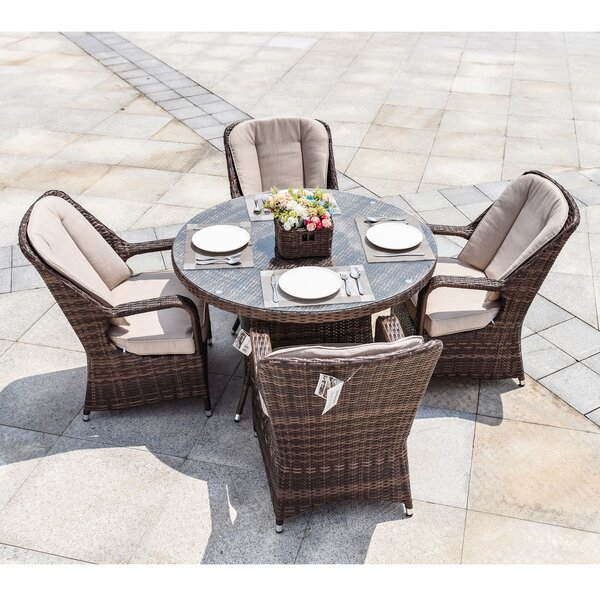 Burt 5 Piece Dining Set with Cushions by One Allium Way