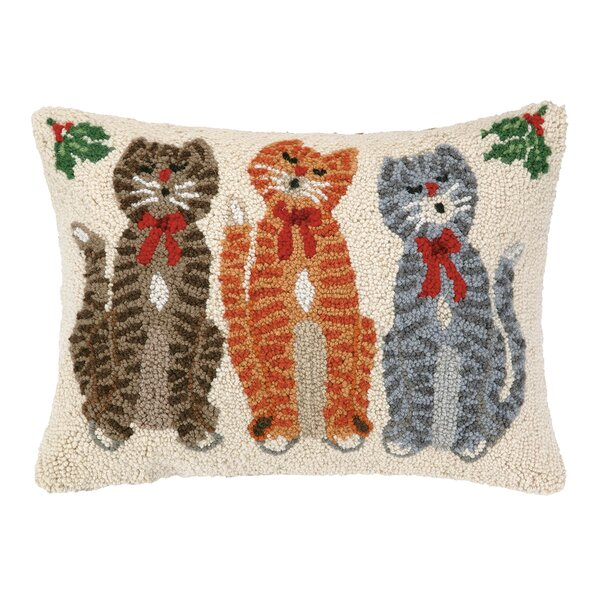 Caroling Cat Trio Hook Wool Throw Pillow By Peking Handicraft.