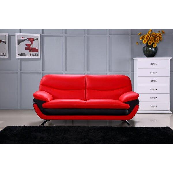 Get Great Deals Jonus Leather Sofa by Hokku Designs by Hokku Designs