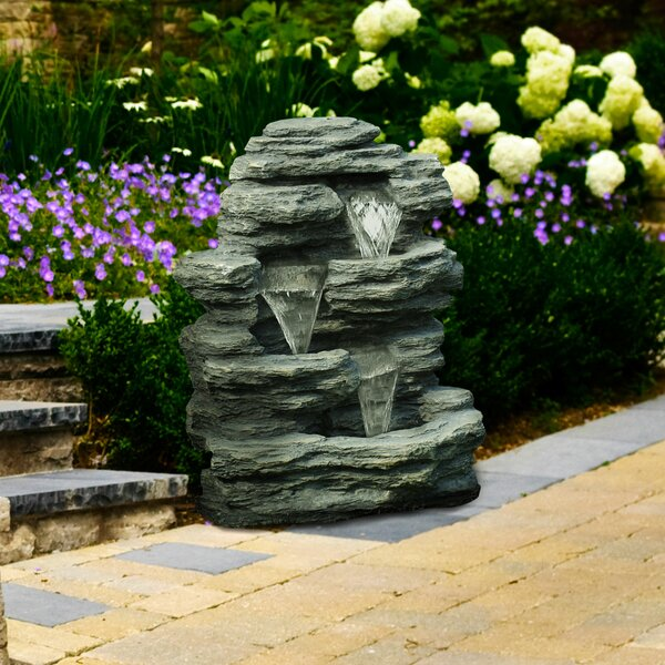 Resin Cascading Stone Waterfall Fountain by Pure Garden