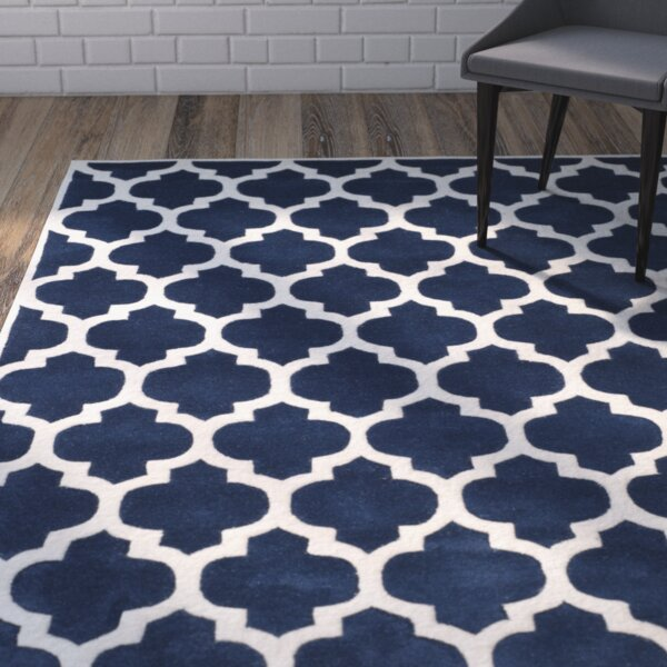 Wilkin Hand-Tufted Dark Blue/Ivory Area Rug by Wrought Studio
