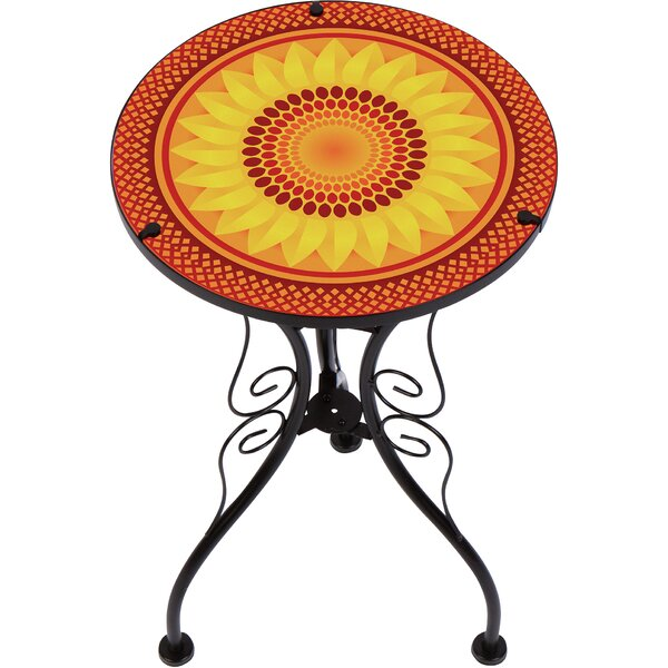 Culbertson Sunflower Design Glass and Metal End Table by Fleur De Lis Living Fleur De Lis Living
