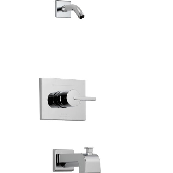 Vero Pressure Balance Tub and Shower Trim with Metal Lever Handle and Monitor by Delta