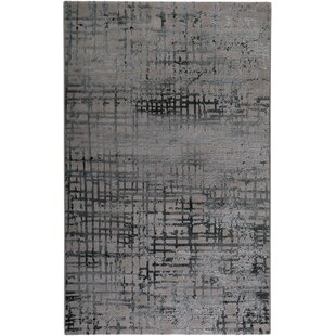 Velvet Grid Petrol Grey Area Rug