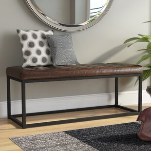 Landry Faux Leather Bench by Mercury Row