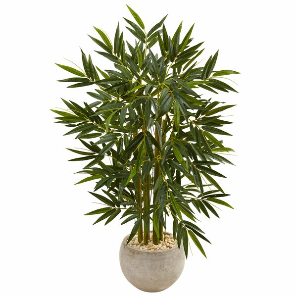 Artificial Faux Floor Bamboo Tree in Stone Planter by Greyleigh