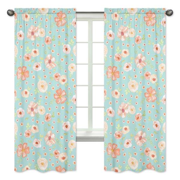 Watercolor Floral Semi-Sheer Curtain Panels (Set of 2) by Sweet Jojo Designs