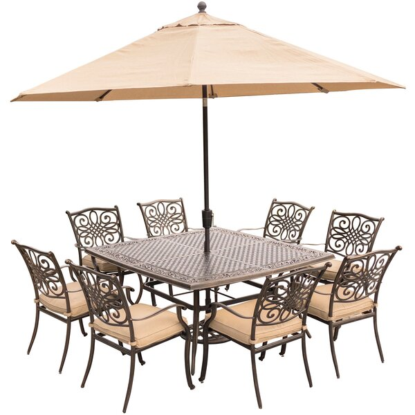 Lauritsen 9 Piece Metal Dining Set with Cushions by Three Posts